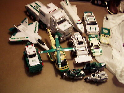 Hess Different 13 Items, Plane, Truck, Space Shuttle, Motorcycles, Race Car.work