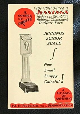 1930s JENNINGS JR WHITE SCALE CO. ADVERTISING FOLDING BUSINESS CARD COIN OP NOS
