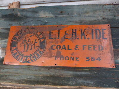 antique advertising sign e.t.h.k. ide st johnsbury vt phone 384 coal & feed old