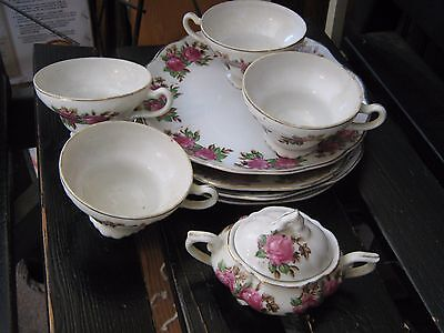 4 SETS FINE CHINA LIPPER & MANN ROSE LUNCHEON SETS JAPAN STAMPED and SUGAR W/LID