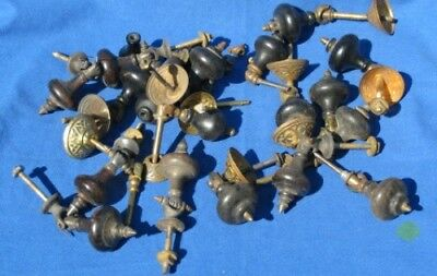 Lot Antique Wood & Brass Victorian Eastlake Style Drawer Pulls Asst. Sizes LOT#1