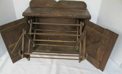 Antique Wall Mount Wooden Pine Shelf Herb Drying Rack