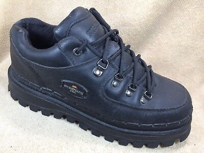 SKECHERS JAMMERS Vtg 90's Mens 11 Black Leather Chunky Shoes Hiking Lace-up