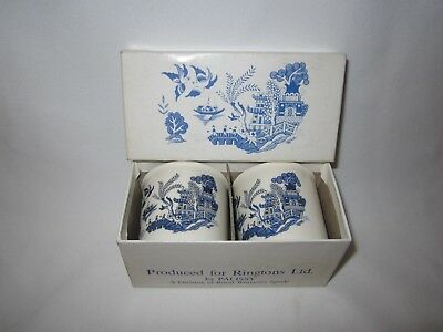 Vintage Ringtons, Palissy pair of blue & white egg cups - unused in box