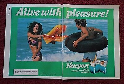 1982 Print Ad Newport Cigarettes ~ Alive with Pleasure Beach Fun Float Tube