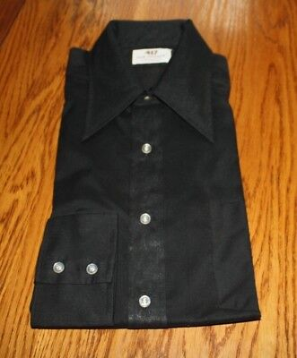 Vintage Mens 417 Van Heusen Vanopress V Taper Shirt Black Never Worn Size 16/33