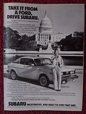 1979 Print Ad SUBARU Car Automobile ~ Susan Ford in Front of The White House