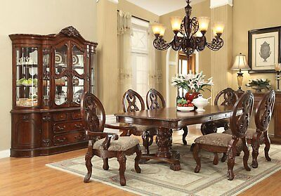 """Emiliano Classic Cherry 80-120""""Double Pedestal 5 PCS Dining Room Table Set,Brown"""