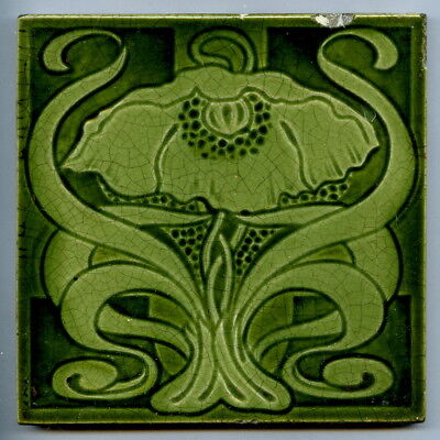 "Relief & intaglio moulded 6""square Art Nouveau tile by Marsden Tile Co, c1905"