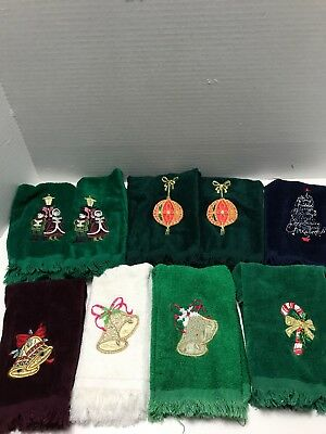 Lot Of 9 Vintage Christmas Hand Towels Embroidered Appl. Candy Cane Bells Tree