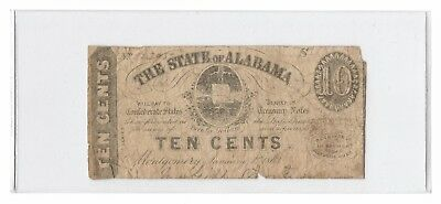 Civil War Era 1863 State of Alabama 10 Cents 10¢ Obsolete Currency Note, Cr. 9