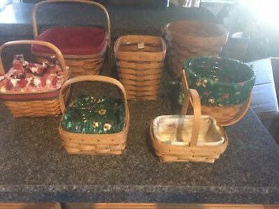 Lot Of 7 Longaberger Baskets  and fabric & plastic liners