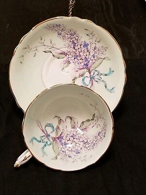 Paragon By Appt to H.M. The Queen & Queen Mary Teacup & Saucer Lilac Sea Green