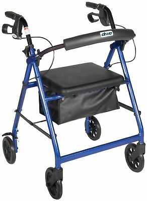 NEW Drive Medical Blue Rollator Folding Adjustable Walker Adult 4 Wheel FGR800BL