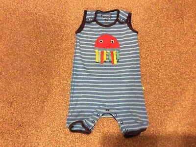 Boys Frugi Dungaree Shorts, 12-18 months, Blue Striped with Jellyfish