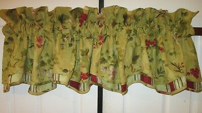 Waverly CHIANTI Scalloped VALANCE Antique Gold FRENCH COUNTRY Tuscan Grapes 77""