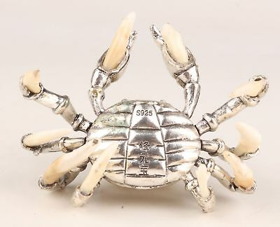 Old Handmade Silver-Plated Crab Inlay Animal Teeth Front Gold Ingot Statue