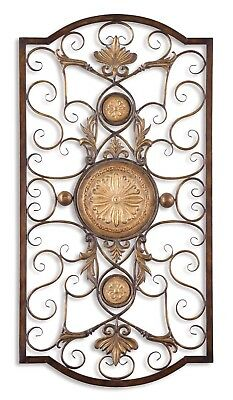 """New Micayla Large Metal Scroll Wall Art in Chestnut Brown & Gold Details,22""""x42"""