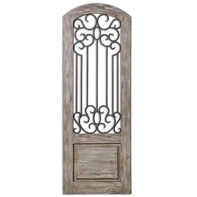 """New Mulino Solid Wood Taupe Gray Wall Panel w/ Metal Details in Bronze, 27""""x75"""