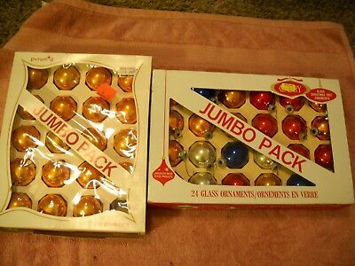 2 boxes vintage Christmas Ornament glass Balls total 44 COBY & Pyramid