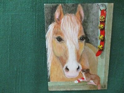 ACEO OOAK hand painted original HORSE and CHRISTMAS MOUSE by Linda D