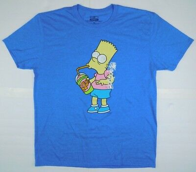 Vintage The Simpson's Bart T Shirt Peace Man Men's XL USA 1990 90s Blue