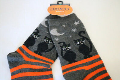 New DAVCO Halloween Black Cat Stars Moon Orange Stripe Woman's Socks Sz 9-10 1/2