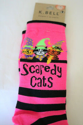 New K Bell Halloween Scaredy Cat Witch Cats Pink Stripe Woman's Socks Sz 9-11