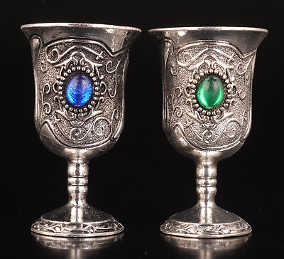2 Tibetan Silver Wine Cup Gless Inlay Sapphire Emerald Gift Collection