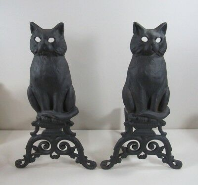 Pair of Cast Iron Cat Andirons