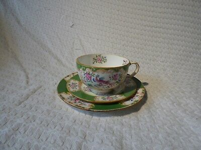 Antique Mintons Cockatrice Pattern Trio Teacup, Saucer & Side Plate