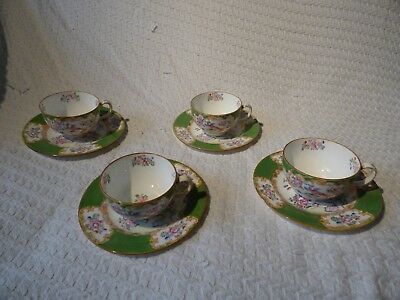 4 x Antique Mintons Cockatrice Pattern Teacups & Saucers