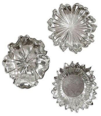 Contemporary 3 Piece Silver Flowers Wall Art with Light Gray Wash, 12