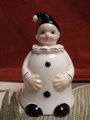 Vintage Clown Collector Bell Genuine  Bone China  Black and White