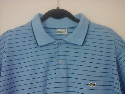 Mens Vintage Chemise Lacoste Short Sleeve Polo Shirt Size 8 Casual Striped Logo