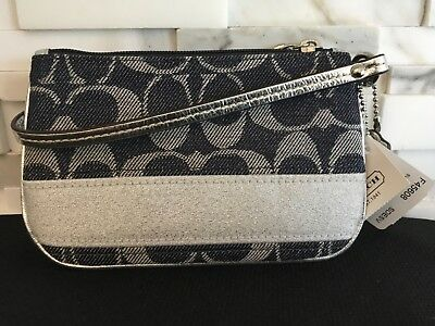Authentic new with tags COACH CLUTCH WRISTLET - denim & silver F45608