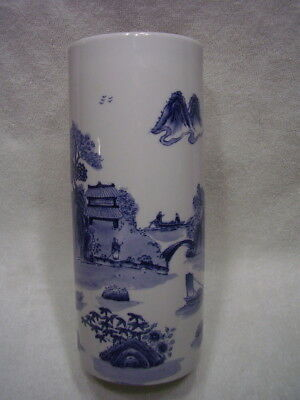 Antique Chinese Blue~White Large Porcelain Brush Pot Marked river-boats-people