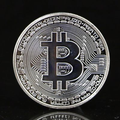 Silver Bitcoin Commemorative Round Collectors Coin Bit Coin Silver Plated Coins