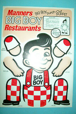 Vintage 1970s Manners Big Boy Punch-Out Puppet  NOS/Mint/Unused    Free Shipping
