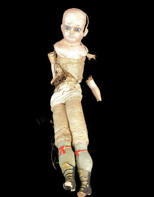 Adorable Antique Composition German / French Doll For Parts/Repair/Restoration
