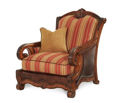 Tuscano Italian Rustic Beige & Red Striped Leather/Fabric Chair Biscotti, Brown