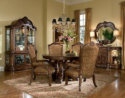 Michael Amini Windsor Court Fruitwood 5PC Classic Round Dining Set Table&4 Chair