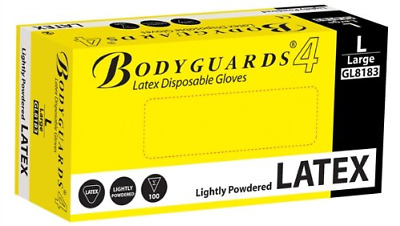 BODYGUARD GL8182 Latex Lightly Powdered Disposable Gloves, Set of 100