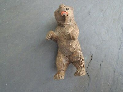 Small Hand Carved Wooden Wood Bear - 1950s Switzerland - 3 1/8 inches tall