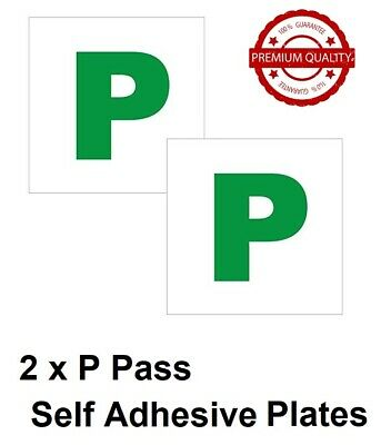 2 x P PASS NEW DRIVER GREEN P PLATE PASSED PLATES SELF STICK FOR CAR VEHICLE ALL