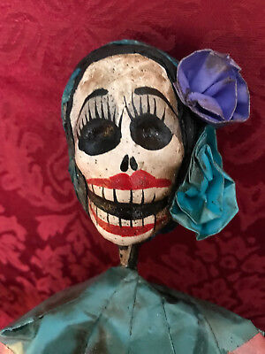 Catrina Mexican Doll Day of Dead Paper Mache Dia de los Muertos Folk Art Decor