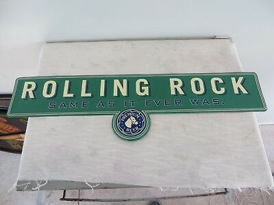 "Vintage Rolling Rock "" Same As It Ever Was ""  Metal Tin Beer Sign  27"" x 8"""
