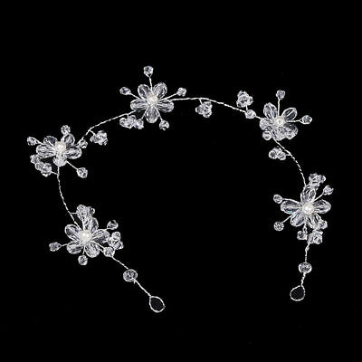 Flora Crystal Wedding Bridal hair Accessories Clip Tiara Headband Silver Garland