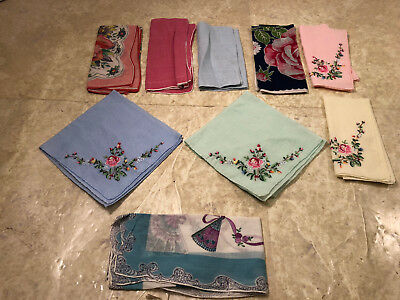 Vintage Cotton Womens Handkerchief Lot Floral Some Hand  Embroidered Lot of 9