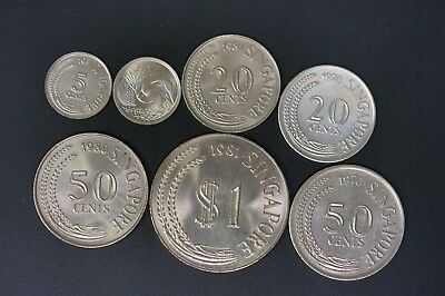 Singapore lot of 7 UNC copper nickel UNC coins (v400)